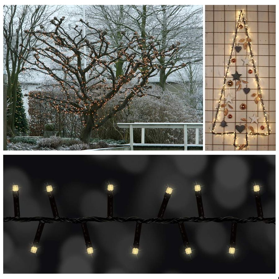lichterkette 16 3 m lang mit 800 led warmwei deko weihnachten ip44 f r drau en ebay. Black Bedroom Furniture Sets. Home Design Ideas
