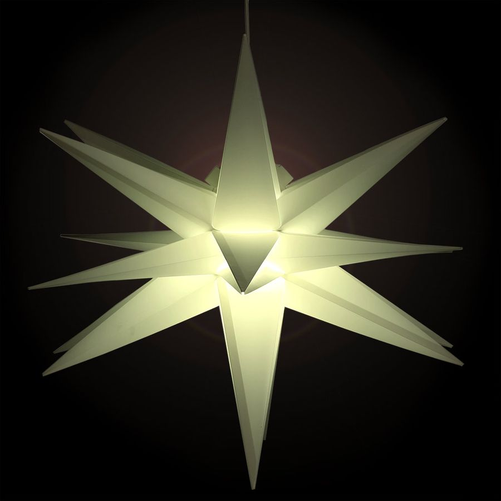 weihnachtsstern 58 cm wei mit beleuchtung faltstern wetterfest stern aussen ebay. Black Bedroom Furniture Sets. Home Design Ideas