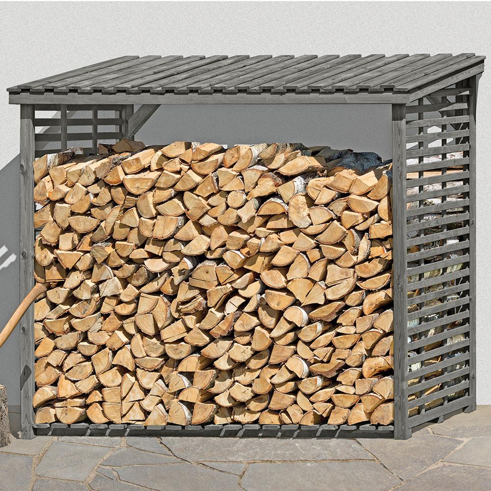 Kaminholzregal für außen aus Holz kesseldruckimprägniert grau