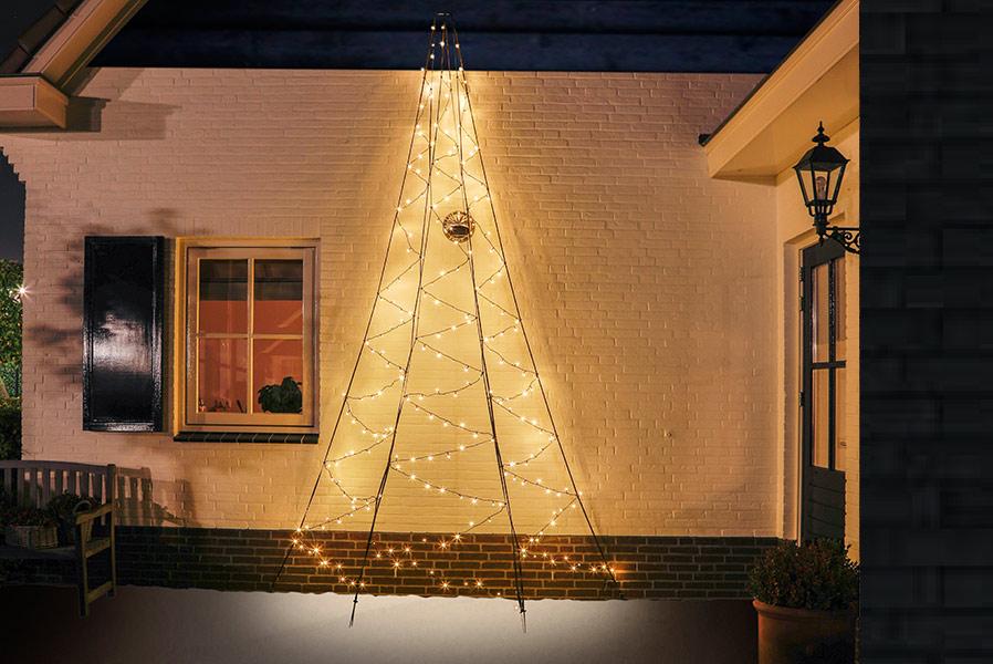 Led Weihnachtsbeleuchtung Baum.Künstlicher Weihnachtsbaum 400 Cm 240 Led Baum Halb Für Hauswand Außen