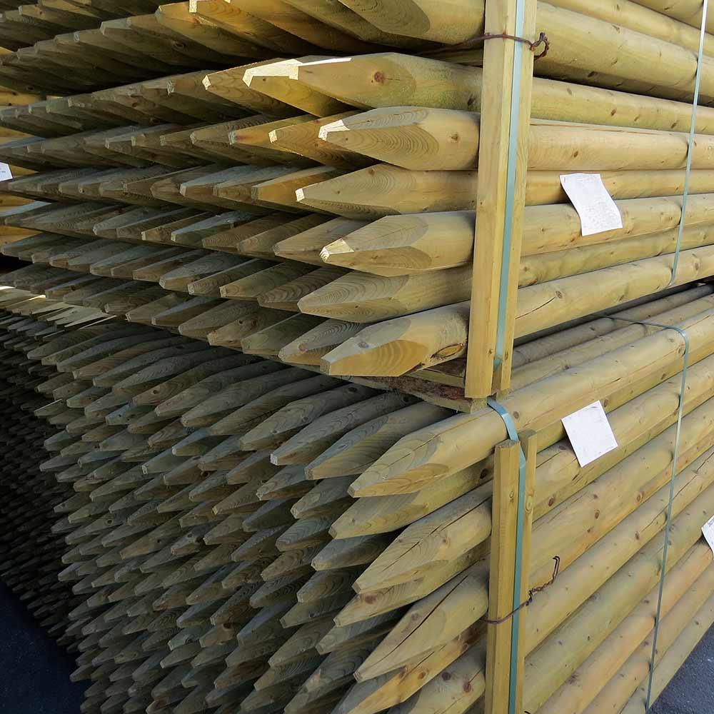 Zaunpfosten aus Holz KDI angespitzt, Durchmesser 7,5 cm, Länge 180 cm