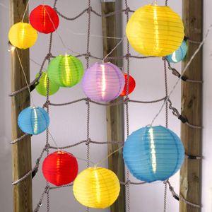 Lampion-Lichterkette mit 15 LED-Lampions Ø 15 cm bunt