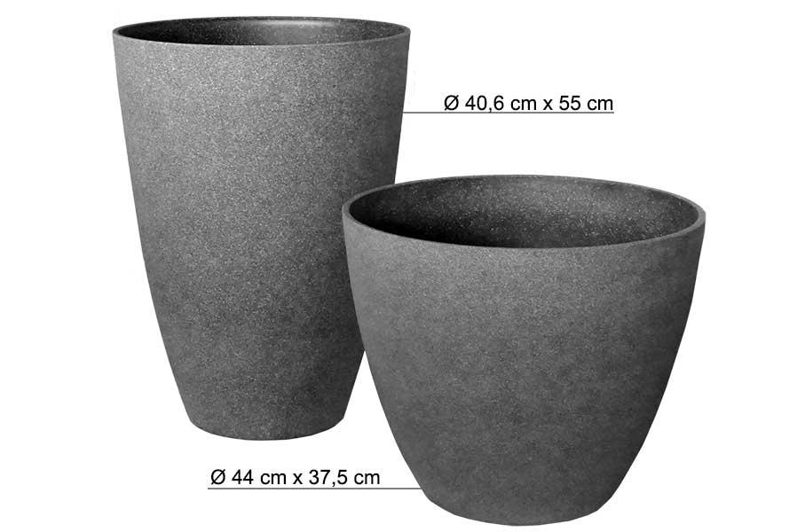 Bekannt Pflanzkübel rund Ø 40 55 cm hoch Kunststoff grau Blumentopf YH69
