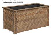 Hochbeetaus Holz mit grob geriffelter Außenwand