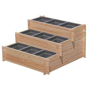 Stufenbeet (3 Stufen) aus Lärchenholz mi9x Pflanzeinsatz