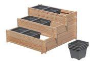 Gemüsebeet aus Holz Lärche mit drei Stufen und Pflanzkasteneinsätze