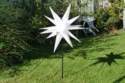 Gartenstab Stern weiß Ø 100 H 140 beleuchtet mit Erdspieß Weihnachten