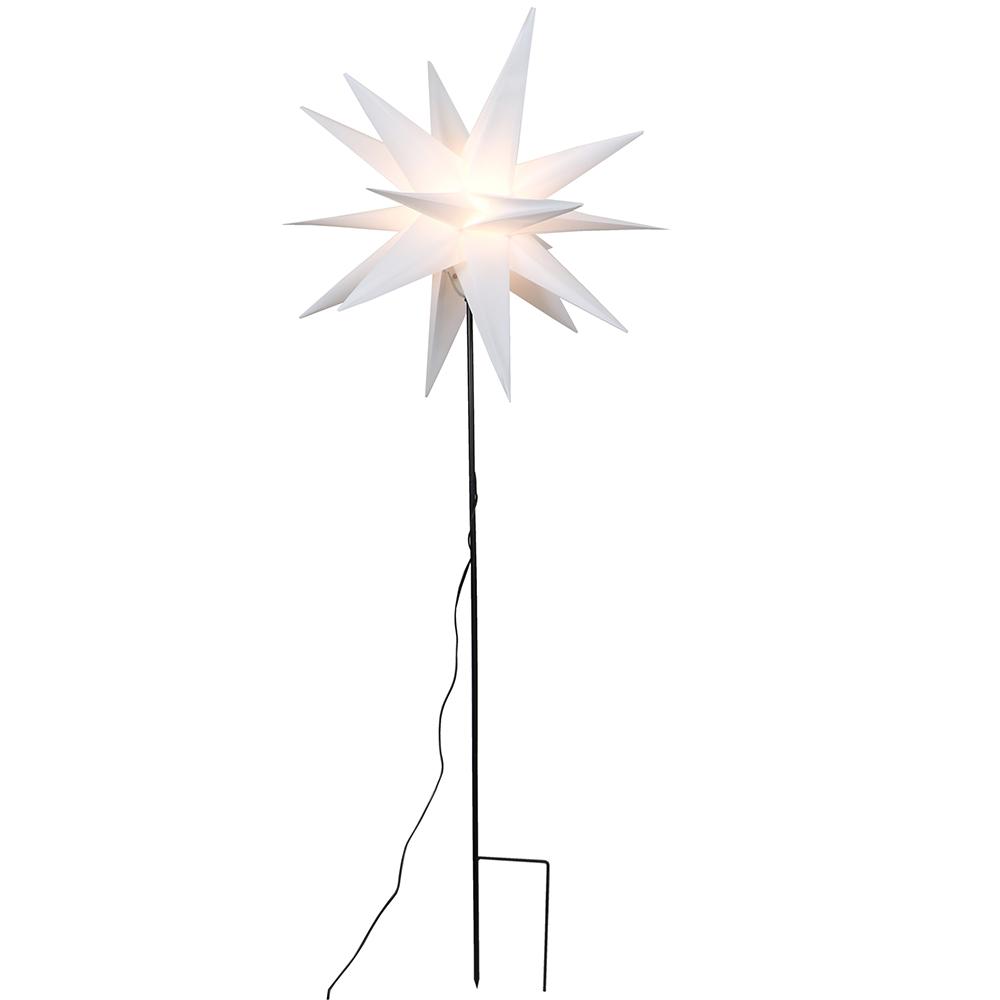 Großer Gartenstern weiß mit Stab und Beleuchtung