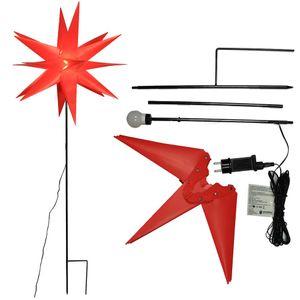 Gartenstern rot Ø 58 cm 120 cm mit Erdspieß beleuchtet
