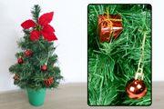 Mini-Tischbaum für Weihnachten mit Dekoration rot