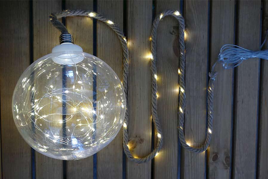 Beleuchtete Weihnachtskugel mit Tau ~ 14002431_Deko Kugel Garten Beleuchtet