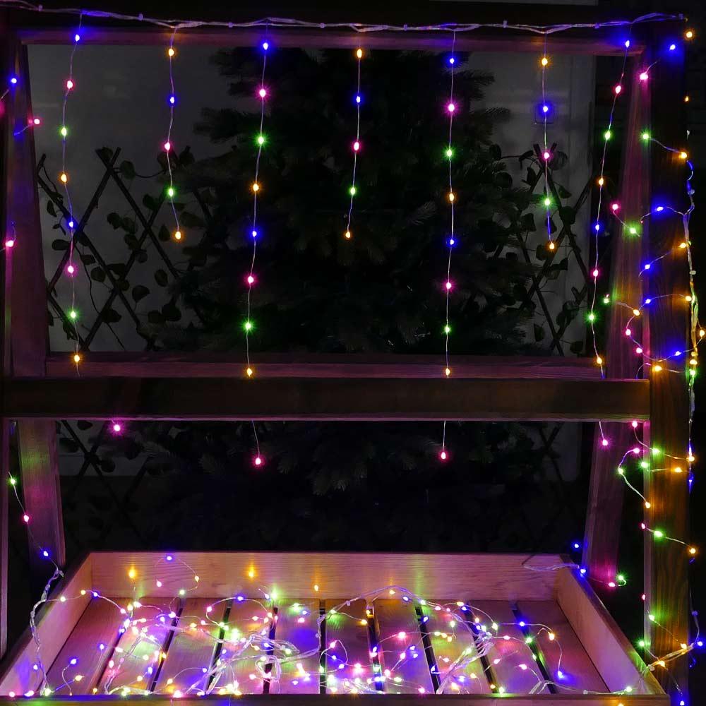 Eisregen Lichterkette bunt aus Silberdraht-Lichterkette mit Micro-LED