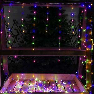 LED Eisregen bunt 6 m 450 LED Silberdraht-Lichterkette