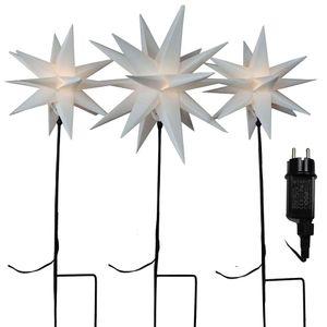 Lichterkette mit 3x Gartenstab mit Stern weiß