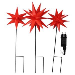 Lichterkette mit 3x Gartenstab mit Stern rot