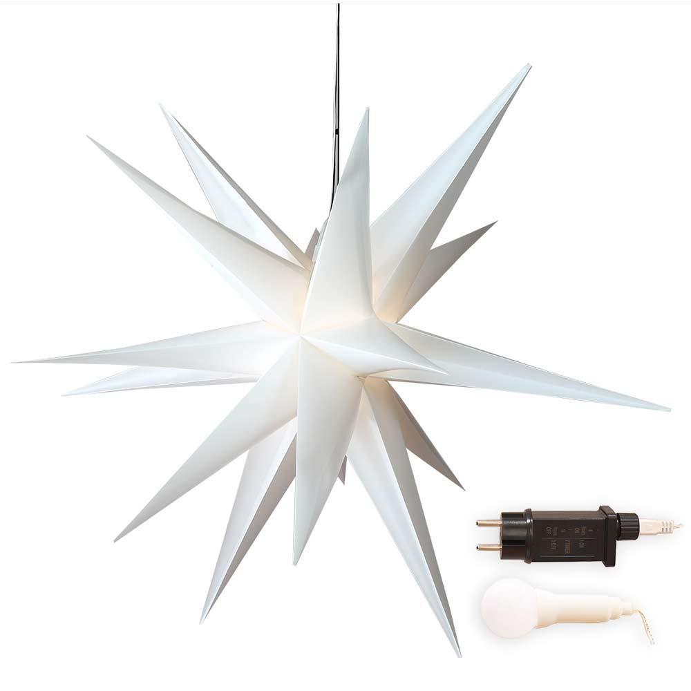 Stern 100 cm groß, weiß, mit LED-Birne beleuchtet für außen