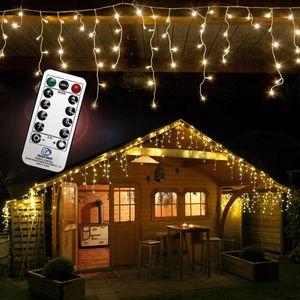 Eisregen 960 LED warmweiß 24 m Fernbedienung Timer Programme