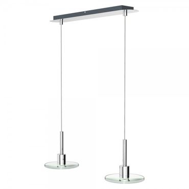 LED Pendelleuchte Flat chrom / Glas 2flg. 2x4 W COB