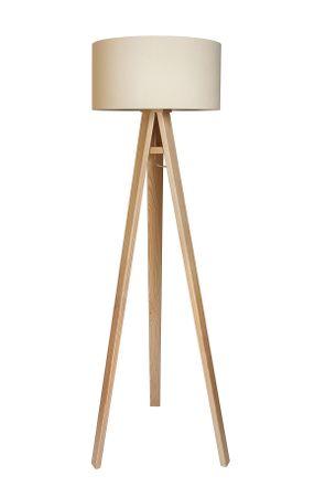 Stehleuchte Jalua F Velours creme & white mit Dreibein aus Holz H: 140cm