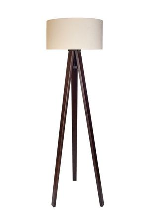 Stehleuchte Jalua F Velours creme & white mit dunkelbraunem Dreibein aus Holz H: 140cm