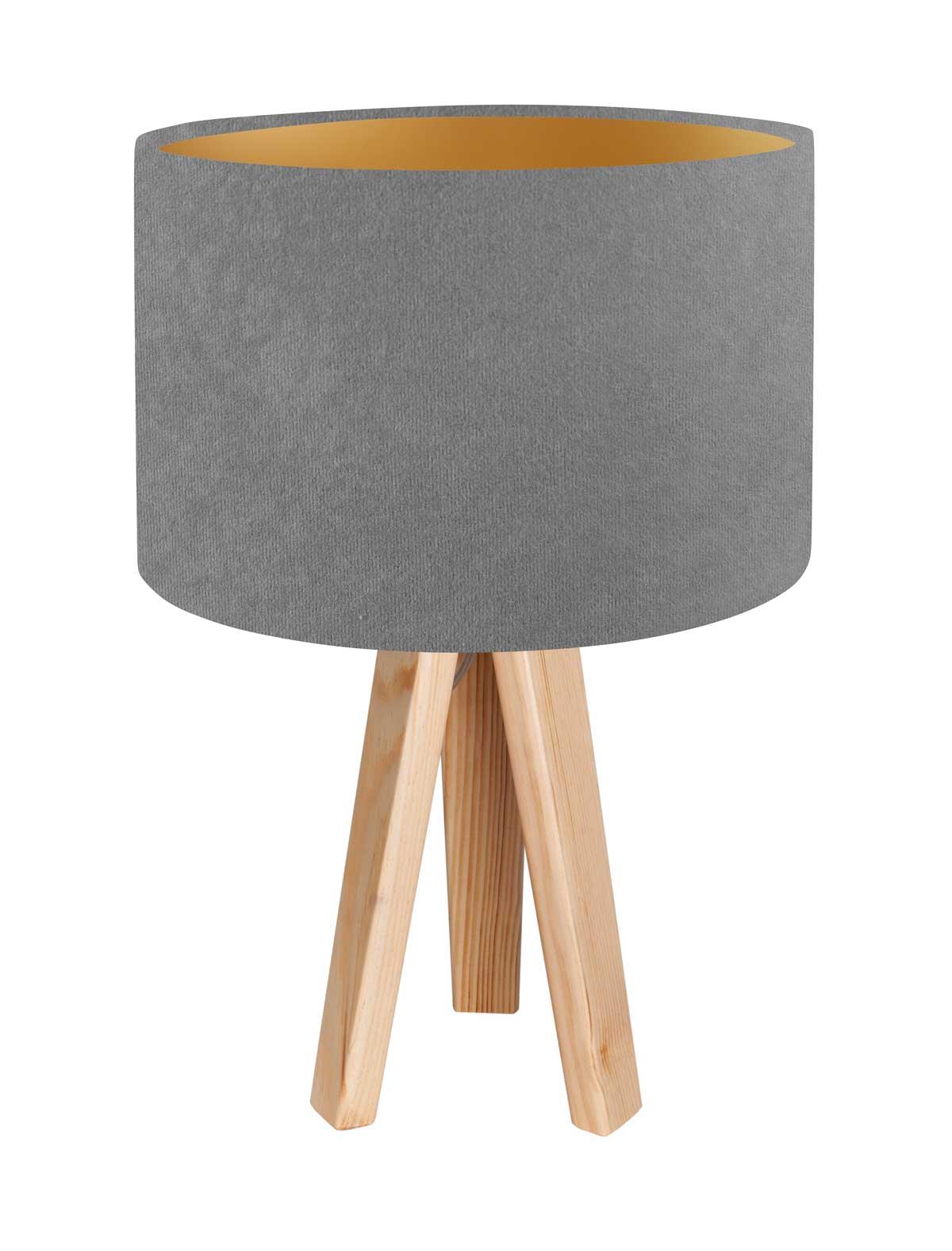 Tischleuchte Tischlampe Jalua T Velours grey & gold mit Dreibein aus Holz H: 47cm 10753
