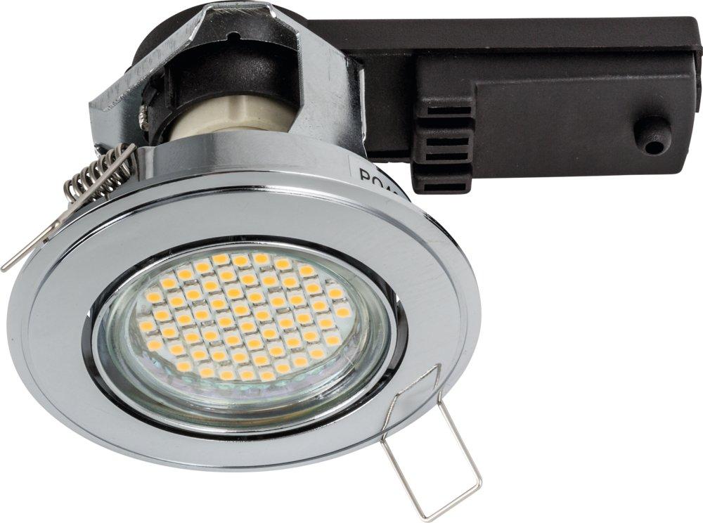 Einbaustrahler DL7301 Hochvolt 230V chrom schwenkbar bis 15° GU10 DM 85mm