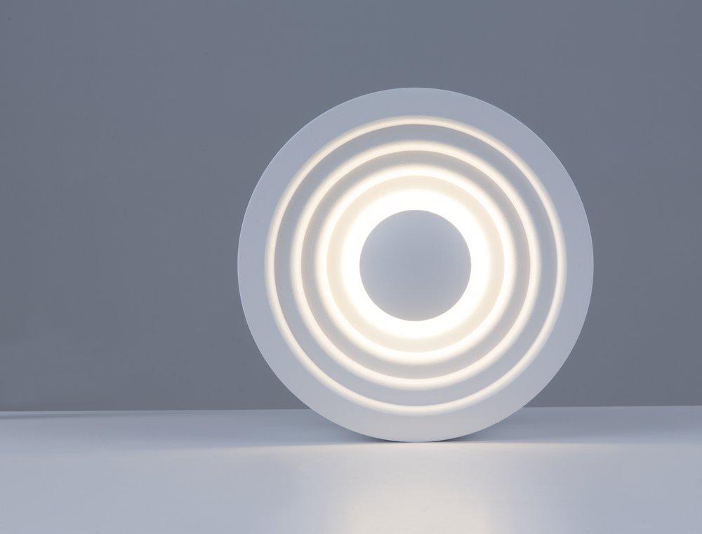 LED Wandleuchte Deckenleuchte Mika rund weiß 3000 K 6W mit stufigem Reflektor