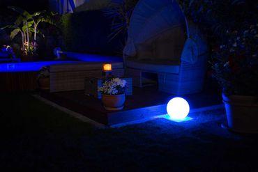 Akku Kugelleuchte GlowOrb portable 28cm Ø Led RGB + weiß IP65 FB 10823
