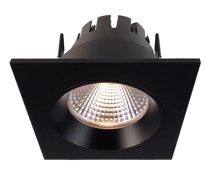LED Deckeneinbauleuchte Orionis eckig schwarz matt D 78mm 6,5 Watt 2700 K IP20