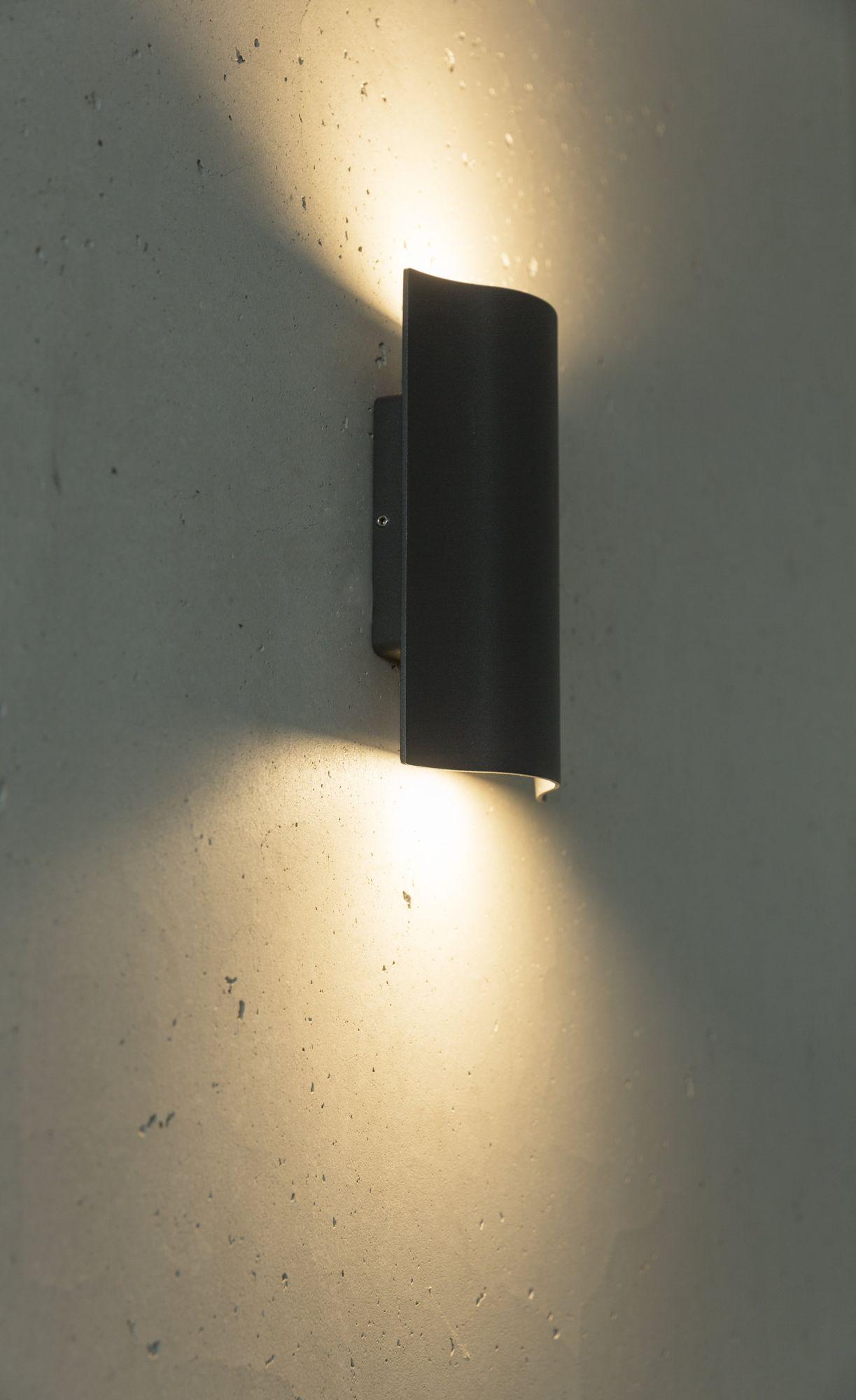 LED Wandleuchte Laola 11W 120x190mm Up-Down-Light IP54 dunkelgrau