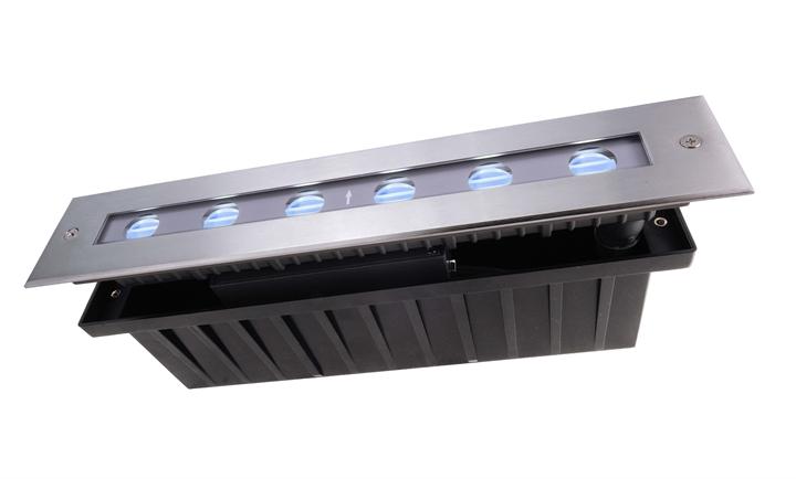 LED Bodeneinbauleuchte Line III RGB 16,5W L 328 mm exkl. Netzteil dimmbar silber IP67