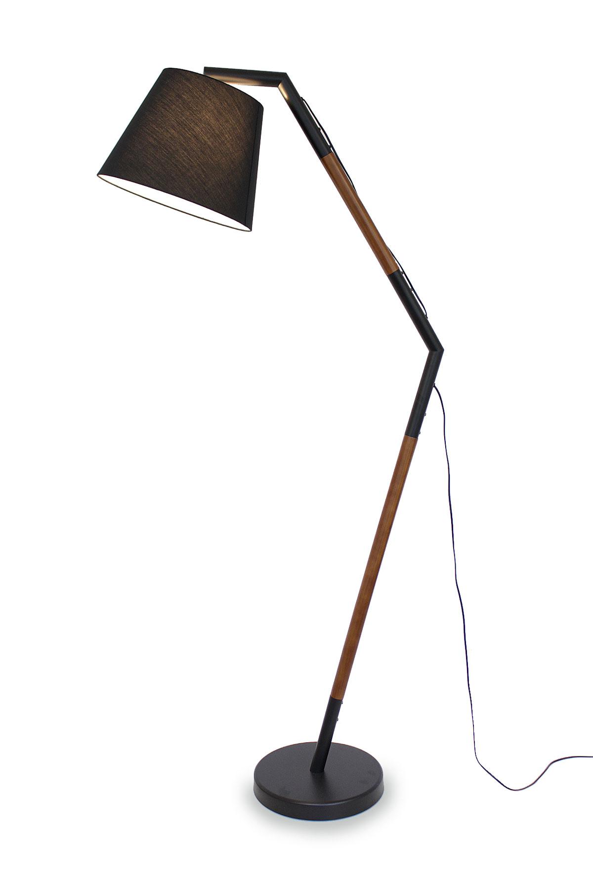[Paket] Stehleuchte Bogenleuchte Asseri braun + schwarz Textil-Lampenschirm 189 cm 10954