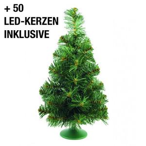 MAILUX LKC19062 Tischtannenbaum - beleuchtet | 45cm hoch | Mit 50 warmweißen LED-Kerzen | grün-weiß | inklusive Standfuß