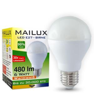 MAILUX E27 6 Watt LED Bulb warmes Licht 2700K 480 Lumen P