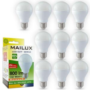 10x MAILUX LED BUM11660 | Birne | E27 | 10W | 800lm | matt | 2700K | ersetzt 60W – Bild 1