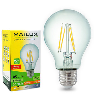 MAILUX E27 6 Watt LED Birne Retrodesign warmes Licht 2700K 600 Lumen