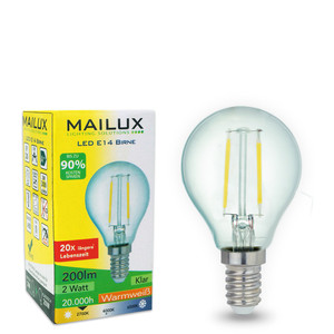 MAILUX E14 2 Watt LED Birne Retrodesign warmes Licht 2700K 200 Lumen – Bild 1