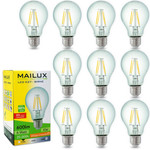 10x MAILUX E27 6 Watt LED Birne Retrodesign warmes Licht 2700K 600 Lumen