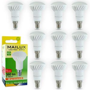 10x MAILUX R50 E14 5 Watt LED Birne Strahler Glühbirne Bulb warmweiß 2700K Ra 80+ mit 380 Lumen (~40 Watt Glühlampe) neu OVP (10-er Sparpack) – Bild 1