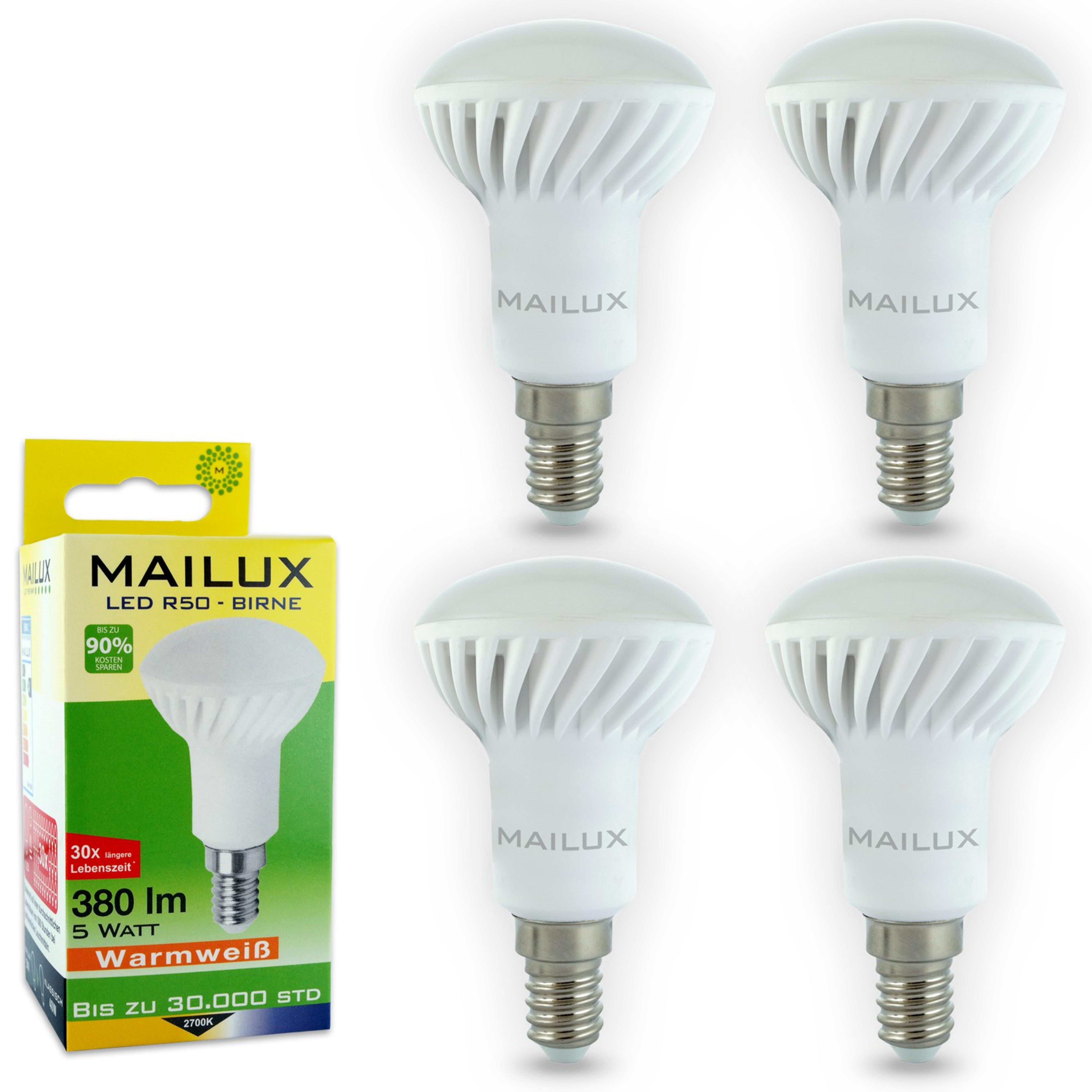 4x MAILUX R50 E14 5 Watt LED Birne Strahler Glühbirne Bulb warmweiß ...
