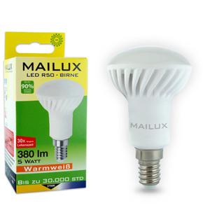 4x MAILUX R50 E14 5 Watt LED Birne Strahler Glühbirne Bulb warmweiß 2700K Ra 80+ mit 380 Lumen (~40 Watt Glühlampe) neu OVP (10-er Sparpack) – Bild 2
