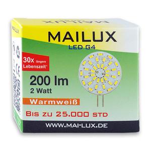 MAILUX LED G4S10472 | G4 | Rundform | 2W | 200lm | 3000K | 36 SMD | warmweiss – Bild 3