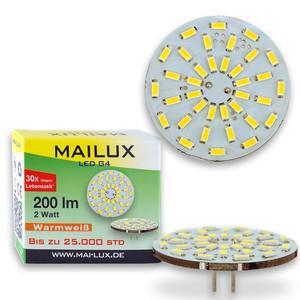 MAILUX LED G4S15088 | G4 | Rundform | 2W | 200lm | 3000K | 36 SMD | warmweiss – Bild 2