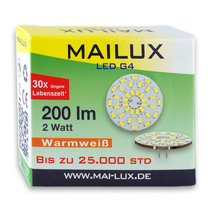 MAILUX LED G4S15088 | G4 | Rundform | 2W | 200lm | 3000K | 36 SMD | warmweiss – Bild 3