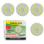 4x MAILUX LED G4S15088 | G4 | Rundform | 2W | 200lm | 3000K | 36 SMD | warmweiss