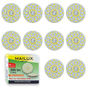 10x MAILUX LED G4S15088 | G4 | Rundform | 2W | 200lm | 3000K | 36 SMD | warmweiss