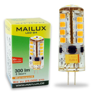 4x MAILUX LED G4S11059 | G4 | Stift | 3W | 300lm | 3000K | 27 SMD | dimmbar | warmweiss – Bild 2
