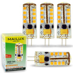 4x MAILUX LED G4S11059 | G4 | Stift | 3W | 300lm | 3000K | 27 SMD | dimmbar | warmweiss