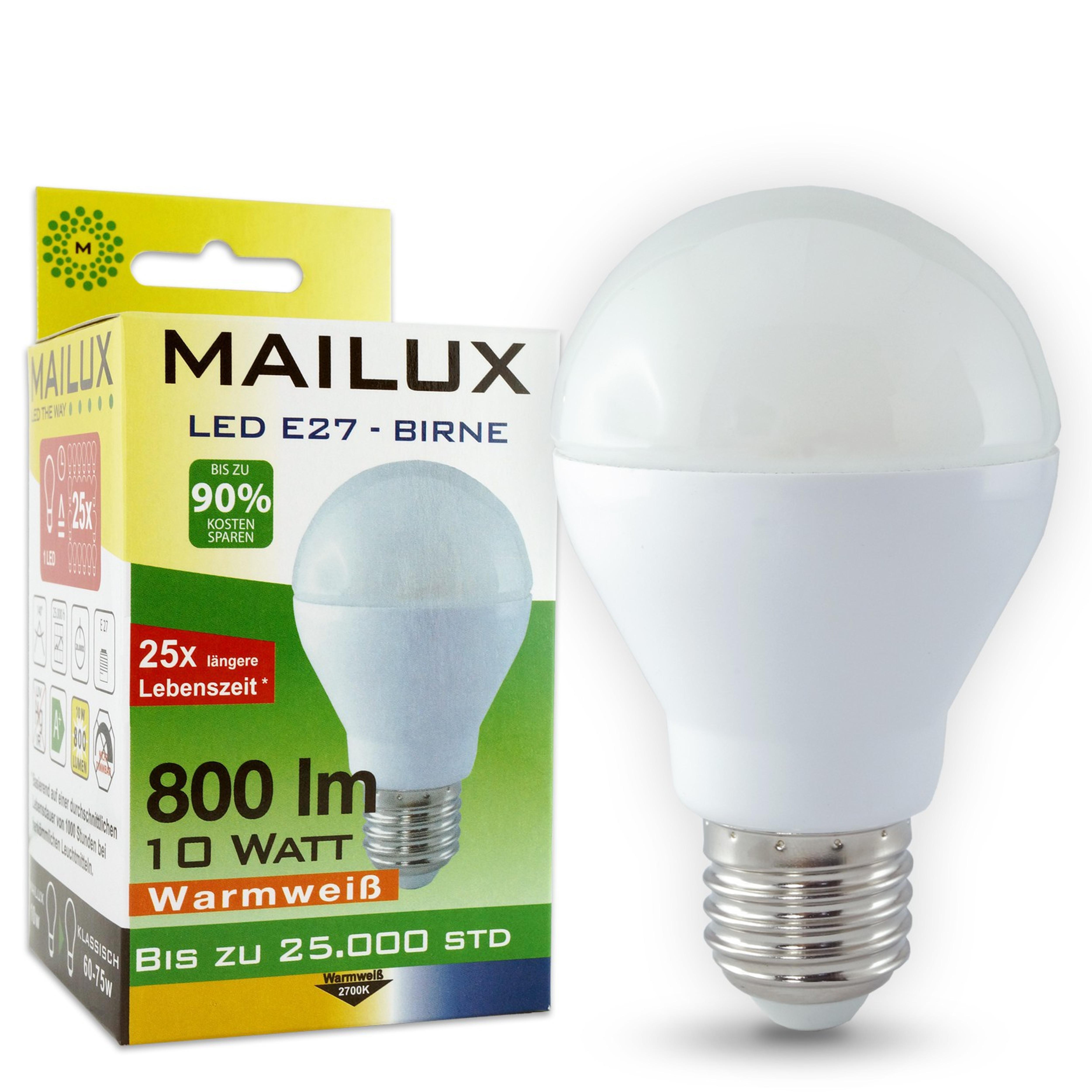 mailux e27 10 watt led matt bulb warmes licht 800lm von. Black Bedroom Furniture Sets. Home Design Ideas