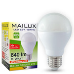 MAILUX E27 8 Watt matt LED warmes Licht 640 Lumen 001